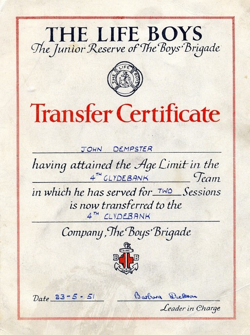 BB 4th Clydebank transfer certificate 1951
